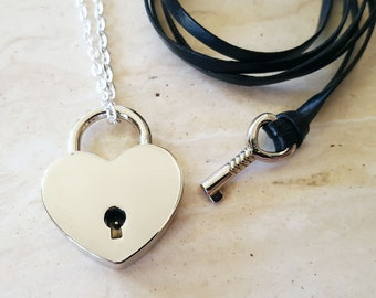 Silver Heart Lock and Key Couples Necklace - Couples Jewelry - Jewelry Set