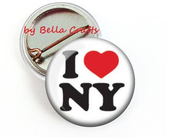 25 pcs, I Love New York State, NY, Pinback, Buttons, 25mm Size, Travel, Fundraiser, Favor, Community, Wholesale, State Pins