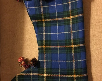 Vintage blue and green tartan Christmas  stocking trimmed with fun fringe