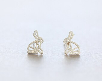 Origami Rabbit Gold Plated Brass earring studs