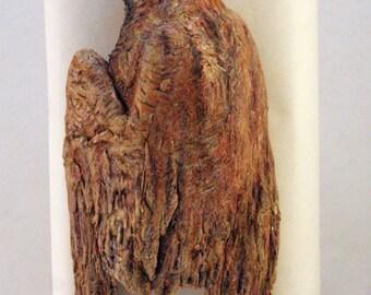 Ceramic hanging White Crowned Sparrow specimen sculpture