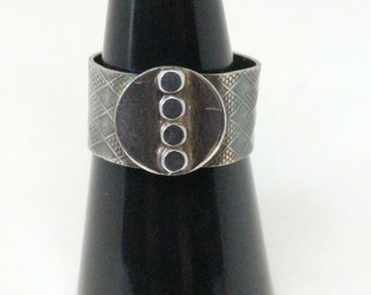 Geometric and Textured Sterling Silver Ring