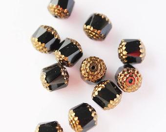 x 5 beautiful black and gold Czech Bohemian glass beads