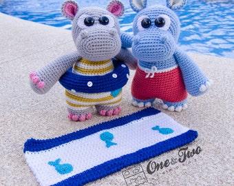 "Sammy and Sally the Little Hippos ""Little Explorer Series"" Amigurumi - PDF Crochet Pattern - Instant Download - Amigurumi Cuddy Stuff"