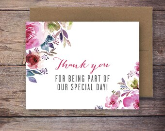 Printable Floral Thank You for Being Part of our Special Day Card - Instant Download Greeting Card - Wedding Card Instant Download – Lincoln