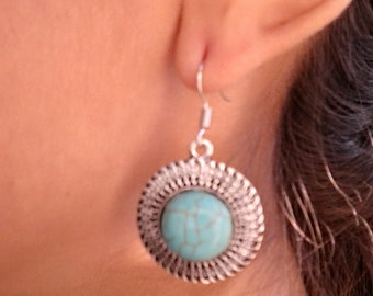 Turquoise Round Drop  Silver Earrings / Howlite Turquoise Earrings.