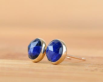 Natural Blue Sapphire Stud Earrings, September Birthstone Anniversary gift Genuine Rose cut Gemstone: Sterling Silver 14k Gold Filled