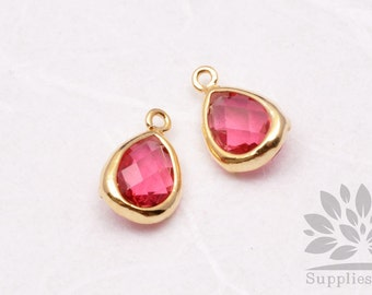 F121-G-RU// Gold Plated Ruby Faceted Teardrop Glass Pendant, 2 pcs