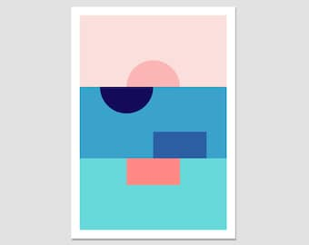 Colour block shapes, large geometric print, minimalist print, modern wall art, bold shape print, abstract geometric, gallery print