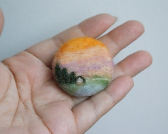 Needle felted landscape in sunset brooch
