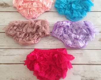 Baby Lace Bloomers- Baby Lace Diaper Cover- Baby Bloomers- Ruffle Bloomers- 1st Birthday Outfit- Weddings- Birthdays- Photography