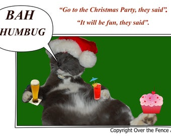Cat Christmas Card Funny Christmas Card Cat at Office Party says Bah Humbug