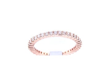 14K Rose Gold Diamond Eternity Band Anniversary Band Wedding Band Engagement Band Promise Ring Stackable Band Yellow Gold White Gold 18K