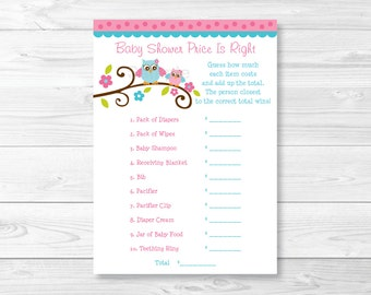 Pink Owl Price is Right Baby Shower Game INSTANT DOWNLOAD A226