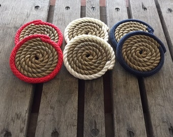 Set of 6 Rope Coasters Nautical Decor Red White & Blue Memorial Day Veterans Labor Day
