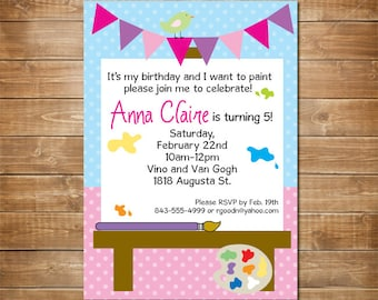 Art Birthday Party Invitation, Personalized Birthday Invite, Kids Art Party, Printable File, Arts and Crafts Birthday, Painting Party,