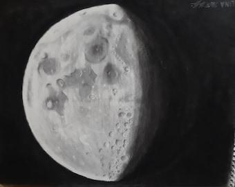 "18x24"" Moon Original Charcoal Drawing"