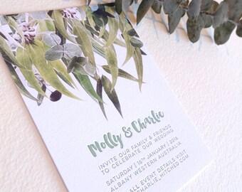 Letterpress invitation, SAMPLE, wedding, engagement, save the date, australian gum tree, eucalyptus leaves, digital image letterpress text