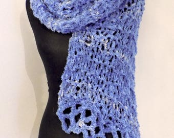 Wool scarf  Handknitted; Lilac Scarf with luster