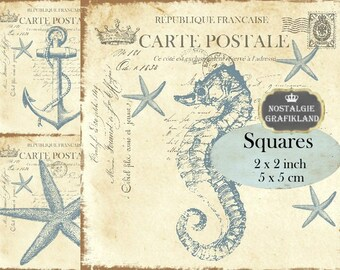 Maritime Squares 2x2 inch Ocean Seashell Anchor Starfish Instant Download digital collage sheet TW162