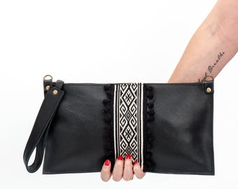 Black leather clutch, Boho chic purse, Leather clutch bag, Boho Chic clutch with pompoms, Handmade leather clutch, FREE SHIPPING!