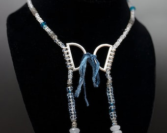 SALE Blue and Clear Quartz Swing Necklace