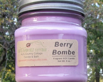 Bougie de soja BOMBE BERRY - Berry bougie, Fruit, mûre, fraise, cassis, freesia, bougie musc