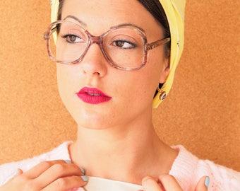 Vintage 70s Eyeglasses 1970s Oversize Glasses New Old Stock Frames Made In Hong Kong Eyeglass Multi Color/Brown/cute
