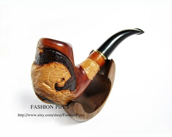 "Wooden Tobacco pipe Smoking Pipes ""BIG Wild TIGER"" for Pipe Smokers, Wooden Pear root carved pipe"