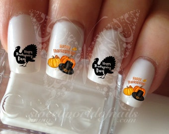 Happy Thanksgiving Nail Art Turkey Water Decals Transfers Wraps