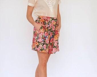 Vintage Floral culottes shorts size 10