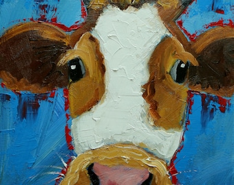 Cow painting 1290 12x12 inch original animal portrait oil painting by Roz