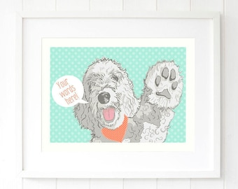 Personalised labradoodle dog wall art prints Pop art gifts ideas Dotty mint and coral wall decor Golden doodle White doodle illustration