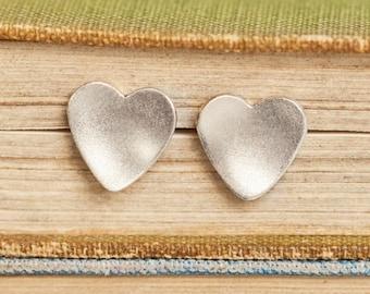 Silver Heart Studs | Matt Heart Earrings | Polished Silver Heart Studs | Silver Earrings | Bridesmaid Gift | Bridal | Alison Moore Designs