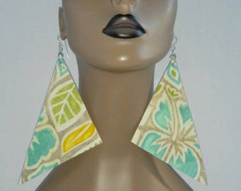 Fabulous Fabric Triangle Earrings, Multiple Color, Floral Design, Large Fabric Earrings, Women Earrings, Large Earrings, Big Earrings