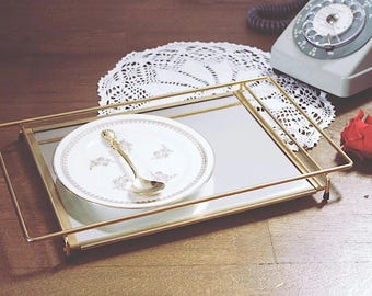 Small vintage gold mirror tray