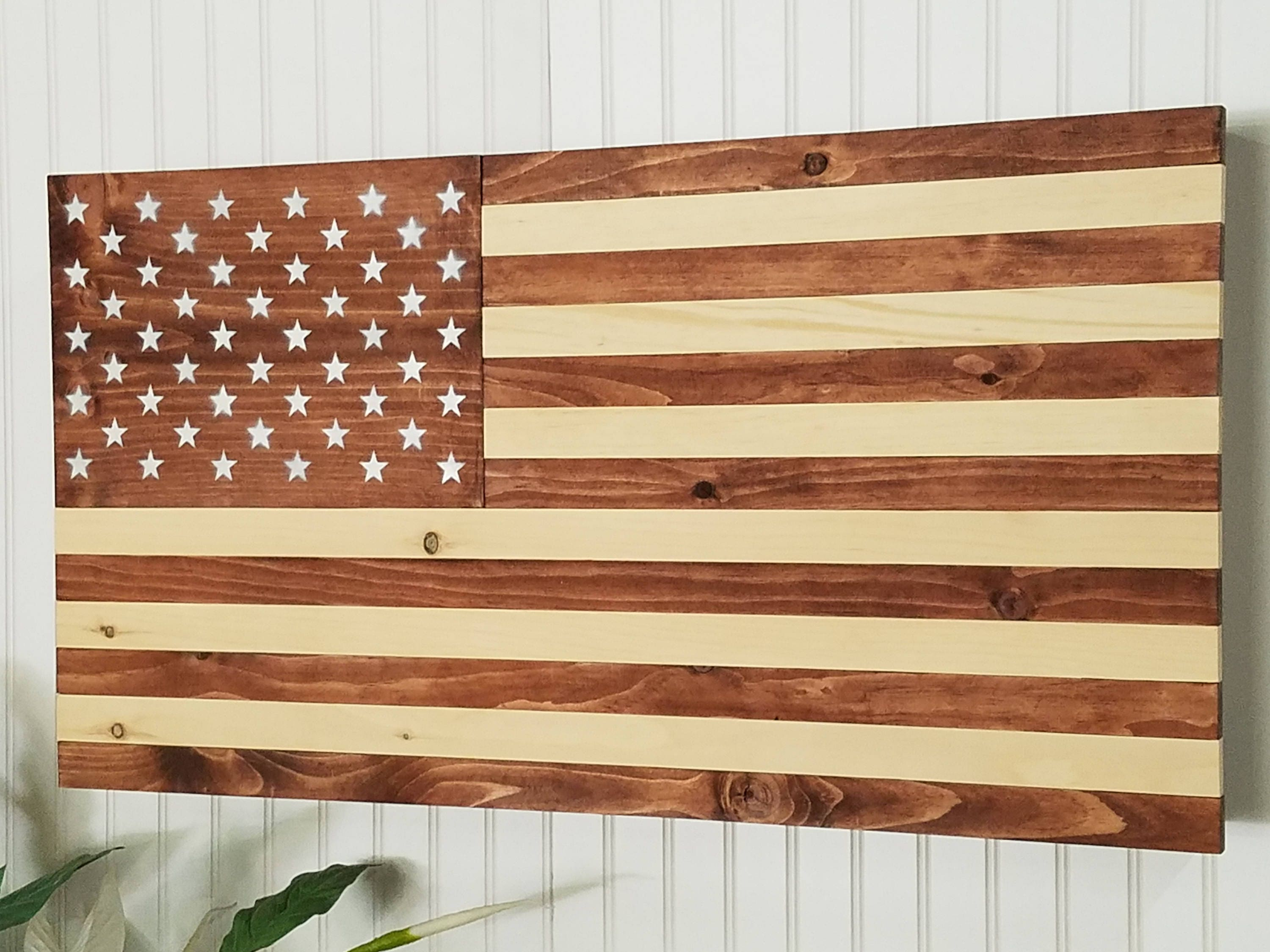 American Flag Wooden Concealment Furniture Compartment