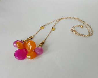 Rio!  Fuschia And Orange Chalcedony Necklace