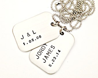 Personalized Dog Tags - Hand Stamped Mens Couples Anniversary Daddy Necklace - Custom Mens Jewelry - Two Dog Tag Family Necklace for Him