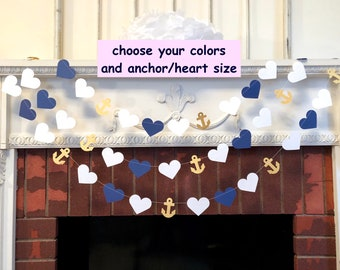 Wedding Garland / 10ft Anchors and Heart Garland / Navy and White Beach wedding Decor / Nautical Bridal Shower Decor / your color choice