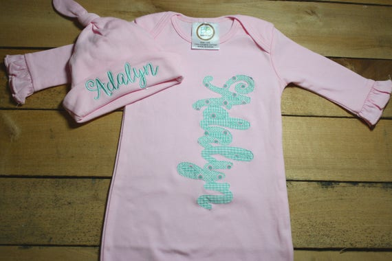 507642aa4bb Personalized Baby Gown Hat Bib Burp Cloth Set Monogrammed