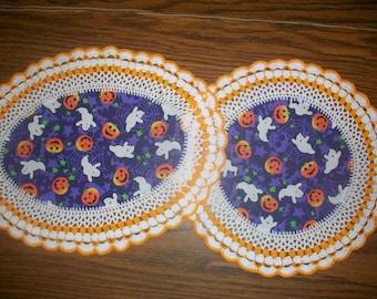 Set of 2 New Handmade Crochet Doilies/Halloween/Ghosts/Jack-O-Lanterns/Skulls/Spider Webs
