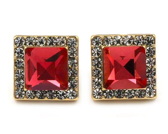 Bright ruby  square gold earrings