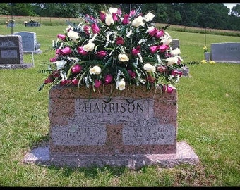 Cemetery Flowers, Headstone Saddle, Grave Decoration, Memorial, Personalized, Cemetary, for cemeteries, Sympathy, For Mom, For Dad, For Her