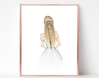 Bridal braids, fashion illustration print, art print, sketch, croquis,