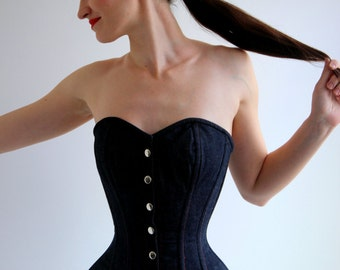 Denim overbust corset from Corsettery Western Collection, steampunk, circus cosplay, historical corset, gift, pirate, blue denim corset