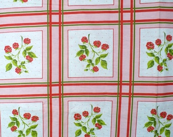 Vintage tablecloth fabric, flowers, pink, green, white, cotton