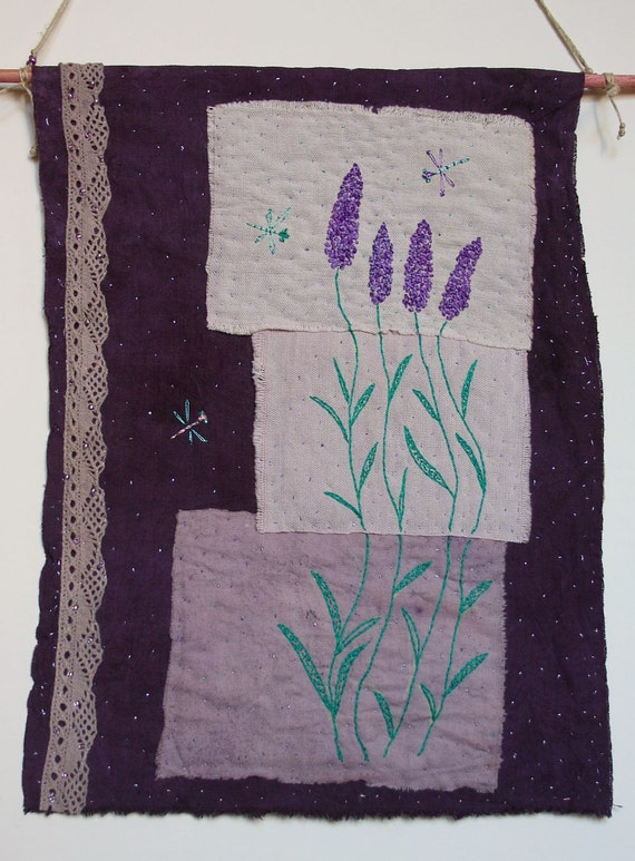 "Embroidered Textile Art Wall Hanging  ""Dragonflies"" - naturally dyed textil, hand embroidery. OOAK."