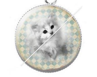 Cabochon 25mm 1 kitty cat pendant
