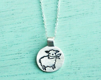 Sheep necklace, handmade jewelry silver lamb necklace, gift for women, handmade necklace, sheep pendant necklace, mothers day gift, sterling